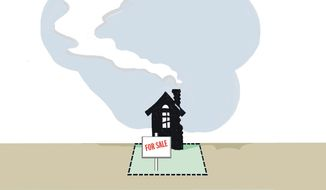 Illustration on high priced housing by Alexander Hunter/ The Washington Times