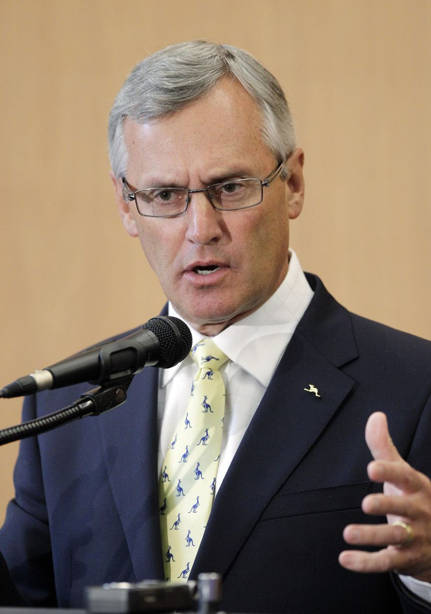 FILE - In this Feb. 2, 2012, file photo, former Ohio State football coach Jim Tressel speaks after being introduced as the new vice president for strategic engagement at the University of Akron in Akron, Ohio. Tressel is among three finalists in the University of Akron's search for a new president. Tressel has been an administrator there for two years. He took the job after being forced out at Ohio State following a scandal in which his players sold memorabilia for cash and tattoos. (AP Photo/Mark Duncan, File)