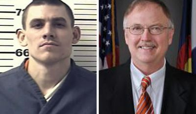 FILE - This combination image of undated file photos provided by the Colorado Department of Corrections in 2013 shows paroled inmate Evan Spencer Ebel, left, charged with killing two people, including the head of the state's Department of Corrections; Tom Clements, right, after tampering with his monitoring bracelet, authorities say. A year after a Colorado inmate held in solitary confinement allegedly gunned down the state prisons chief upon being released, lawmakers are moving to restrict use of the punishment for the mentally ill. The bill continues the efforts that Colorado Department of Corrections Director Tom Clements had been working on, and highlights a growing movement by states to limit the practice of solitary confinement amid questions about its effectiveness.(AP Photo/Colorado Department of Corrections, File)