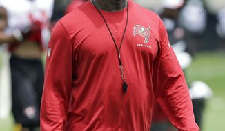 New Tampa Bay Buccaneers head coach Lovie Smith walks during a voluntary NFL football minicamp practice Tuesday, April 22, 2014, in Tampa, Fla. (AP Photo/Chris O'Meara)