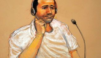 FILE - This Nov. 9, 2011, file artist rendering by courtroom artist Janet Hamlin, reviewed by the U.S. military, shows Abd al Rahim al-Nashiri during his military commissions arraignment at the Guantanamo Bay detention center in Guantanamo, Cuba. U.S. prosecutors must turn over never-revealed details about the time a Guantanamo Bay detainee spent in secret CIA prisons after his arrest in connection with the deadly attack on the USS Cole in Yemen, according to a military judge's order released Tuesday, April 22, 2014. The five-page order was a victory for defense lawyers representing Abd al Rahim al-Nashiri, who is accused of orchestrating the Oct. 12, 2000, bombing of the USS Cole in the Yemeni port of Aden. (AP Photo/Janet Hamlin, File)
