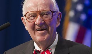 FILE - In this May 30, 2012, file photo, former U.S. Supreme Court Justice John Paul Stevens speaks at a lecture presented by the Clinton School of Public Service in Little Rock, Ark. In the aftermath of the Connecticut school shootings that left 20 first-graders and six educators dead, retired Supreme Court Justice John Paul Stevens began thinking about ways to prevent a repeat. The result is Stevens' new book,  his second since retiring from the court at age 90, in which he calls for no fewer than six changes to the Constitution, of which two are directly related to guns.  (AP Photo/Danny Johnston, File)