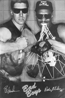 ** FILE **Detroit Pistons' Bill Laimbeer, left, and Rick Mahorn are shown in a poster from 1989 during the team's Bad Boys era. (AP Photo/files)