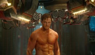 """This image released by Disney - Marvel shows Chris Pratt in a scene from """"Guardians Of The Galaxy."""" (AP Photo/Disney - Marvel)"""