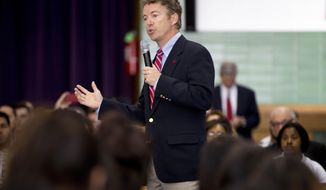 Sen. Rand Paul, R-Ky., speaks during a visit to Josephinum Academy in Chicago to participate in a discussion on school choice on Tuesday, April 22, 2014. (AP Photo/Andrew A. Nelles)