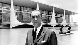 FILE - In this undated 1960 file photo, Brazil President Juscelino Kubitschek poses for a photo in Brasilia, Brazil. Brazil's National Truth Commission said Tuesday April 22, 2014, that its investigation into the 1976 death of former President Kubitschek turned up no evidence to support claims his fatal car accident was the work of the country's then-military regime. (AP Photo, File)