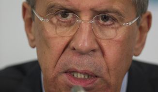Russian Foreign Minister Sergey Lavrov speaks during a news conference after the meeting of foreign ministers from Caspian countries, in Moscow, Russia, on Tuesday, April 22, 2014. (AP Photo/Ivan Sekretarev)