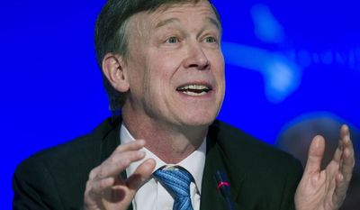 National Governor's Association Vice Chair Colorado Gov. John Hickenlooper participates in a special session on jobs in America during the National Governor's Association Winter Meeting in Washington, Sunday, Feb. 23, 2014. (AP Photo/Cliff Owen)
