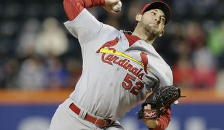 St. Louis Cardinals' Michael Wacha delivers a pitch during the first inning of a baseball game against the New York Mets, Wednesday, April 23, 2014, in New York. (AP Photo/Frank Franklin II)