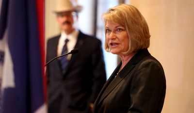 Wyoming Rep. Cynthia M. Lummis speaks during a press conference where she announced her bid to seek a fourth 2-year term to Wyoming's only seat in the U.S. House of Representatives, Wednesday April 23, 2014, in Cheyenne, Wyo. (AP Photo/Wyoming Tribune Eagle, Michael Smith)