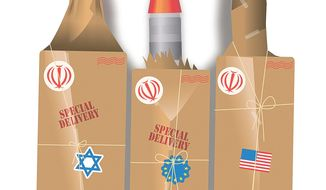 Illustration on Iranian nukes by Linas Garsys/The Washington Times
