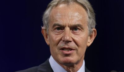 ** FILE ** In this April 8, 2013, file photo, former British Prime Minister Tony Blair speaks at Lafayette College in Easton, Pa. (AP Photo/Matt Rourke, File)