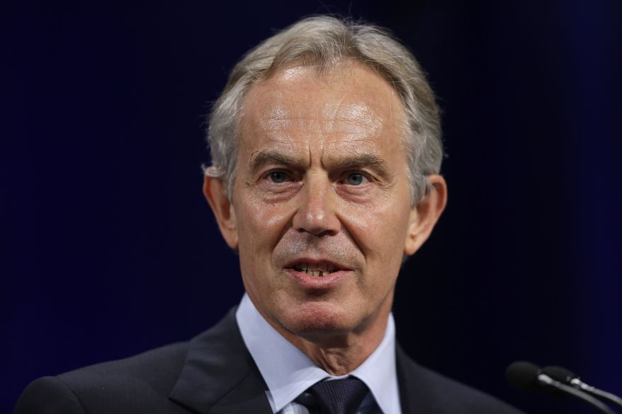 Former British Prime Minister Tony Blair speaks at Lafayette College in Easton, Pa., in this April 8, 2013, file photo. (AP Photo/Matt Rourke, File)