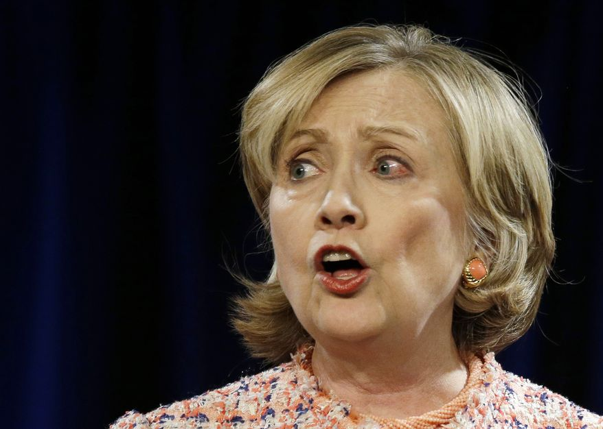 ** FILE ** Former Secretary of State Hillary Rodham Clinton delivers her Simmons College Leadership Conference keynote address at the Seaport World Trade Center Wednesday, April 23, 2014, in Boston. (Associated Press)