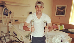 D.C. United's Chris Pontius shown after undergoing hamstring surgery April 23, 2014. (D.C. United via Twitter)