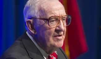 FILE - In this Wednesday, May 30, 2012, file photo, former U.S. Supreme Court Justice John Paul Stevens speaks at a lecture presented by the Clinton School of Public Service in Little Rock, Ark. Stevens says he thinks the federal government should legalize marijuana. The 94-year-old retired justice tells NPR that public opinion has changed on the issue. (AP Photo/Danny Johnston, File)