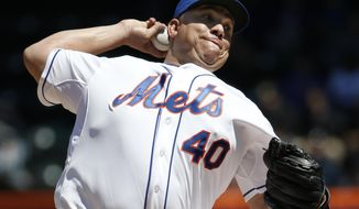 New York Mets starting pitcher Bartolo Colon delivers in the first inning against the St. Louis Cardinals in a baseball game in New York, Thursday, April 24, 2014. (AP Photo/Kathy Willens)