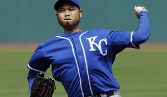 Kansas City Royals starting pitcher Bruce Chen delivers against the Cleveland Indians in the first inning of a baseball game Thursday, April 24, 2014, in Cleveland. (AP Photo/Mark Duncan)