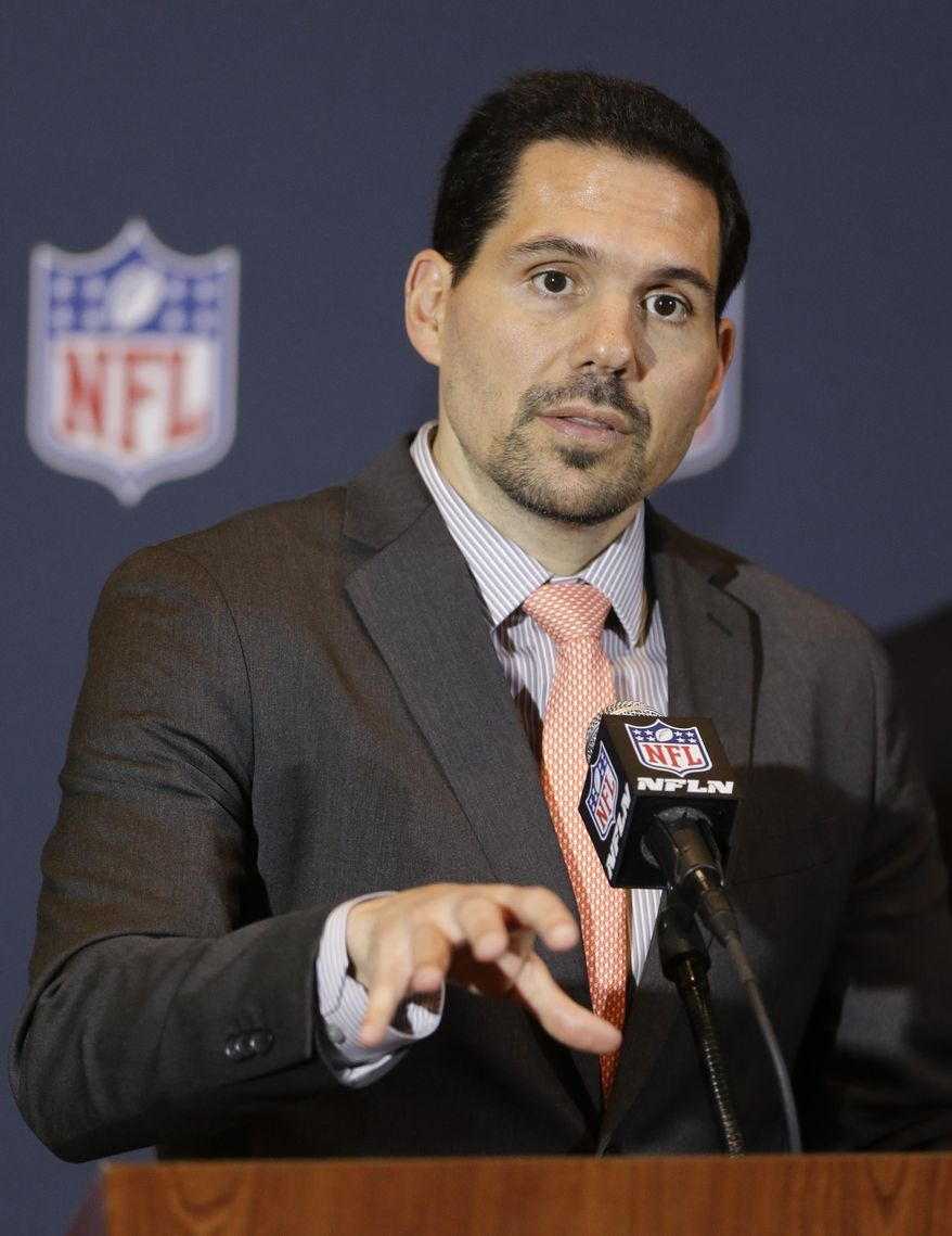 FILE - In this March 24, 2014, file photo, NFL officiating director Dean Blandino speaks during a news conference at the NFL football annual meeting in Orlando, Fla. Blandino told a gathering of Associated Press Sports Editors on Thursday, April 24, 2014, that in an effort to have on-field action in which the players are respectful to each other, coaches, officials and fans, there will be a heavy emphasis on reducing taunting. (AP Photo/John Raoux, File)