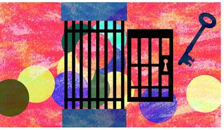 Illustration on sentencing and recidivism by Alexander Hunter/The Washington Times