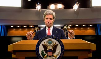 Secretary of State John F. Kerry accuses Russia of failing to live up to commitments it made to ease the crisis in Ukraine. The U.S. brokered an agreement last week in Geneva that both sides blame the other for breaking through actions this week. (Associated Press)