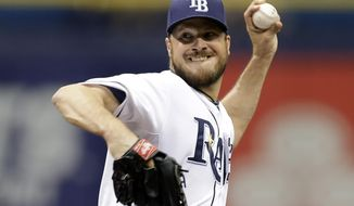 Tampa Bay Rays starting pitcher Erik Bedard delivers to the Minnesota Twins during first inning of a baseball game Thursday, April 24, 2014, in St. Petersburg, Fla. (AP Photo/Chris O'Meara)