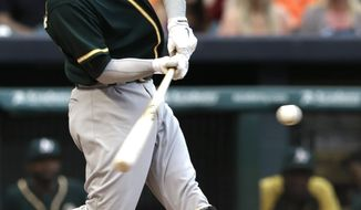 Oakland Athletics' Josh Donaldson connects for a two-run homer against the Houston Astros in the first inning of a baseball game Thursday, April 24, 2014, in Houston. (AP Photo/Pat Sullivan)