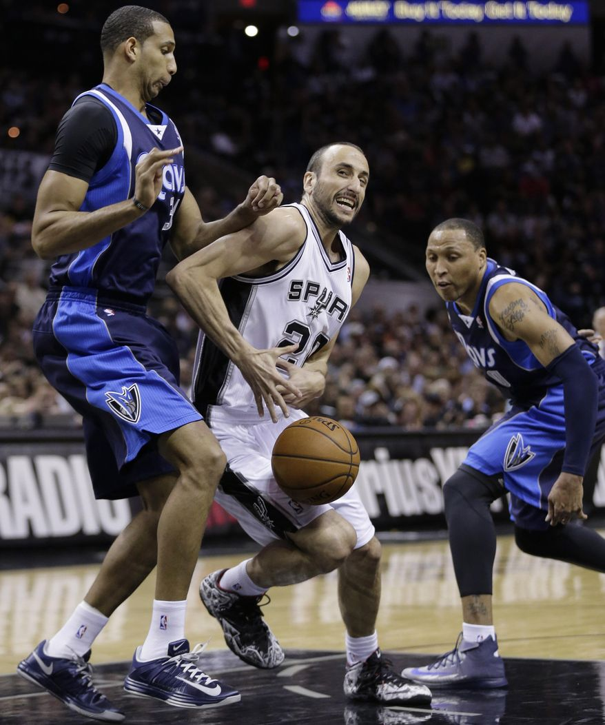 San Antonio Spurs' Manu Ginobili (20), of Argentina, is pressured by Dallas Mavericks' Brandan Wright (34) and Shawn Marion (0) during the first half of Game 2 of the opening-round NBA basketball playoff series on Wednesday, April 23, 2014, in San Antonio.  (AP Photo/Eric Gay)