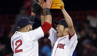 Boston Red Sox closer Koji Uehara, right, celebrates with first baseman Mike Napoli (12) after the Red Sox defeated the New York Yankees 5-1 in a baseball game at Fenway Park in Boston, Wednesday, April 23, 2014. (AP Photo/Elise Amendola)