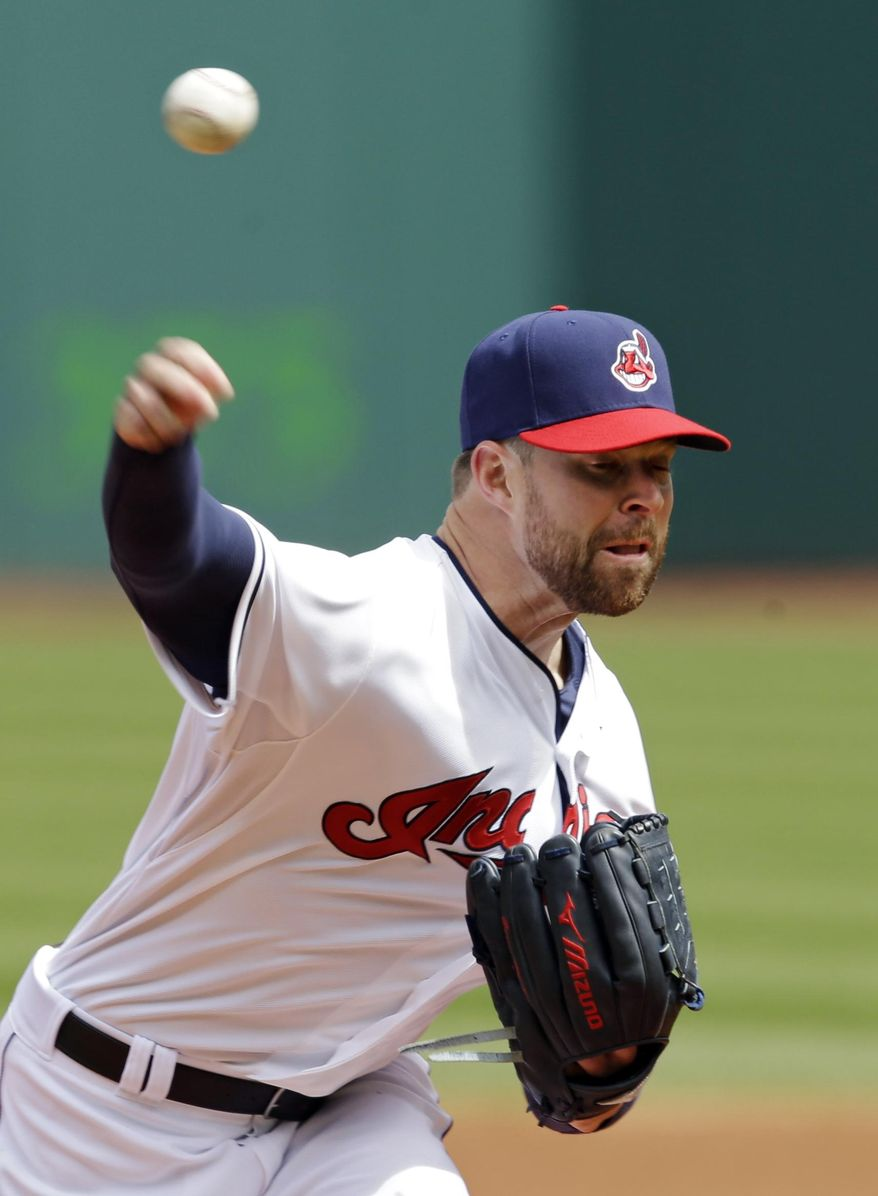 Cleveland Indians starting pitcher Corey Kluber delivers against the Kansas City Royals in the first inning of a baseball game Thursday, April 24, 2014, in Cleveland. (AP Photo/Mark Duncan)