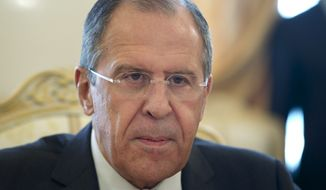 Russian Foreign Minister Sergey Lavrov speaks during his meeting with his Lebanese counterpart Gibran Bassil in Moscow, Russia, on Thursday, April 24, 2014. (AP Photo/Ivan Sekretarev)