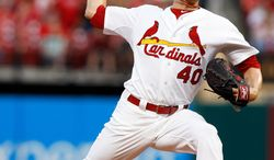 St. Louis Cardinals starting pitcher Shelby Miller throws during the first inning of a baseball game against against the Pittsburgh Pirates, Friday, April 25, 2014, in St. Louis. (AP Photo/Scott Kane)