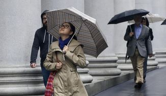 Pedestrians carry umbrellas as they walk in the financial district in San Francisco, Friday, April 25, 2014. A late-season Pacific storm brought rain and snow to California on Friday, though it was not expected to make much of a dent in the state's ongoing drought. (AP Photo/Jeff Chiu)