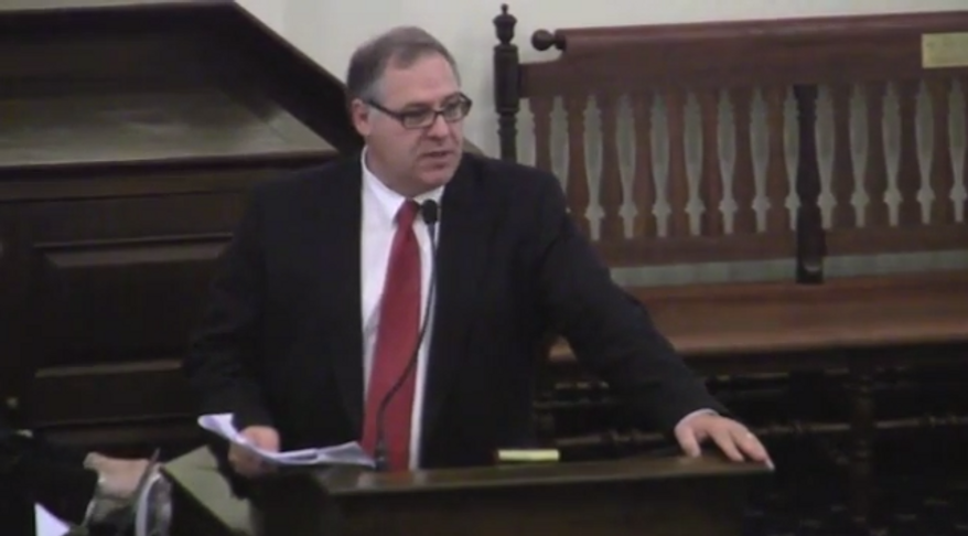 In this screen capture from a video uploaded by Granite State Progress, New Hampshire state Representative Will Infantine, Manchester Republican, speaks against a paycheck fairness bill during a floor debate at the state house on April 23.
