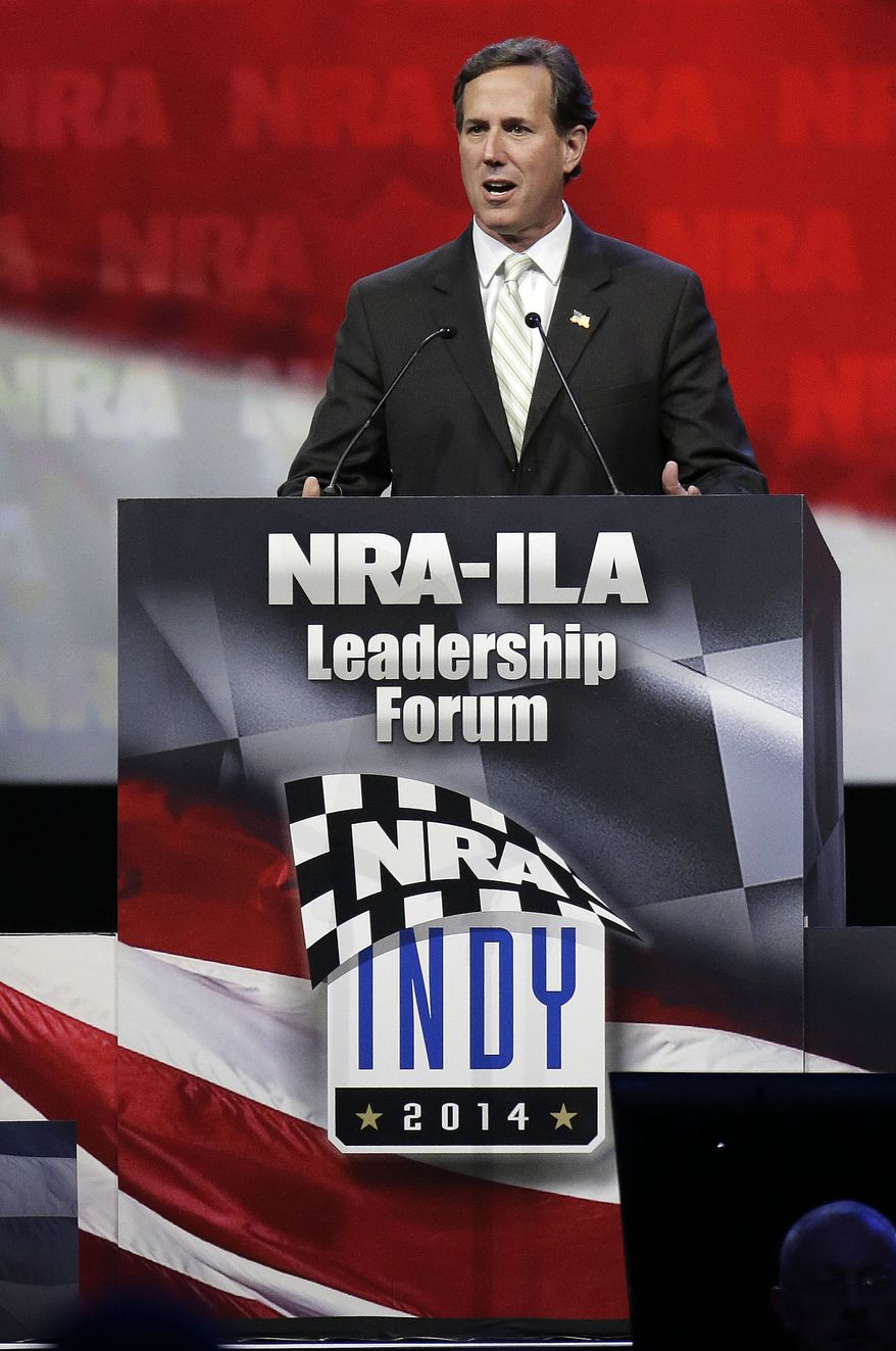 Former Pennsylvania Sen. Rick Santorum speaks during the leadership forum at the National Rifle Association's annual convention Friday, April 25, 2014, in Indianapolis. Several potential Republican contenders for president were courting gun-rights supporters at the convention Friday. (AP Photo/AJ Mast)