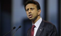 Louisiana Gov. Bobby Jindal speaks during the leadership forum at the National Rifle Association's annual convention Friday, April 25, 2014, in Indianapolis. (AP Photo/AJ Mast)