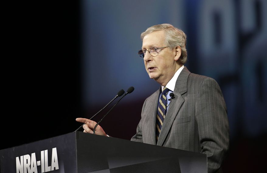 Senate Minority Leader Mitch McConnell, R-Ky., speaks at the leadership forum at the National Rifle Association's annual convention Friday, April 25, 2014, in Indianapolis. Several potential Republican contenders for president planned on courting gun-rights supporters at the convention Friday. (AP Photo/AJ Mast)
