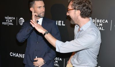 "Actor Adam Levine and director John Carney attend the premiere of ""Begin Again"" during the Tribeca Film Festival on Saturday, April 26, 2014, in New York. (Photo by Evan Agostini/Invision/AP)"