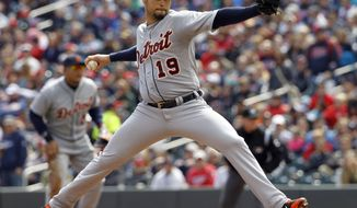 Detroit Tigers starting pitcher Anibal Sanchez (19) delivers to the Minnesota Twins during the first inning of a baseball game in Minneapolis, Saturday, April 26, 2014. (AP Photo/Ann Heisenfelt)