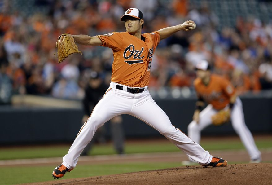 Baltimore Orioles starting pitcher Wei-Yin Chen, of Taiwan, throws to the Kansas City Royals in the first inning of a baseball game, Saturday, April 26, 2014, in Baltimore. (AP Photo/Patrick Semansky)