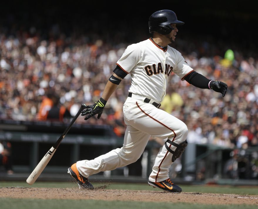 San Francisco Giants' Gregor Blanco swings for a single off Cleveland Indians' Zach McAllister in the fifth inning of a baseball game on Saturday, April 26, 2014, in San Francisco. (AP Photo/Ben Margot)