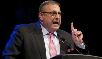 Gov. Paul LePage speaks at the Maine Republican Convention, Saturday, April 26, 2014, in Bangor, Maine. (AP Photo/Robert F. Bukaty)