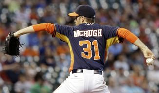 Houston Astros' Collin McHugh delivers a pitch against the Oakland Athletics in the first inning of a baseball game on Sunday, April 27, 2014, in Houston. (AP Photo/Pat Sullivan)