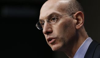 NBA Commissioner Adam Silver answers questions during a news conference before Game 4 of an opening-round NBA basketball playoff series between the Memphis Grizzlies and the Oklahoma City Thunder on Saturday, April 26, 2014, in Memphis, Tenn. (AP Photo/Mark Humphrey)
