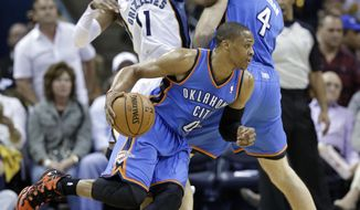 Oklahoma City Thunder guard Russell Westbrook (0) gets past Memphis Grizzlies guard Mike Conley (11) with a pick by Oklahoma City forward Nick Collison (4) in the first half of Game 4 of an opening-round NBA basketball playoff series Saturday, April 26, 2014, in Memphis, Tenn. (AP Photo/Mark Humphrey)