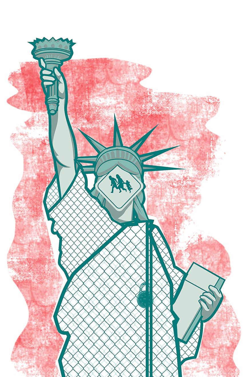 Illustration on challenges to solving illegal immigration by Linas Garsys/ The Washington Times