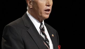 Republican senatorial candidates Thom Tillis responds during a televised debate at UNC-TV in Research Triangle Park, N.C., Monday, April 28, 2014. (AP Photo/ Pool)