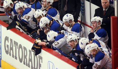 St. Louis Blues head coach Ken Hitchcock, upper right, and the bench in the final seconds of play during Game 6 of a Western Conference quarterfinal playoff hockey game against the Chicago Blackhawks on Sunday, April 27, 2014, at the United Center in Chicago. (AP Photo/St. Louis Post-Dispatch, Chris Lee) EDWARDSVILLE INTELLIGENCER OUT; THE ALTON TELEGRAPH OUT . Photo by Chris Lee, clee@post-dispatch.com