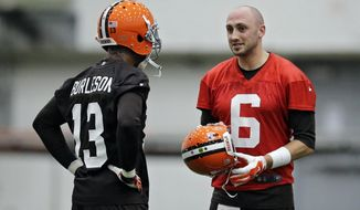 Cleveland Browns quarterback Brian Hoyer (6) talks with wide receiver Nate Burleson (13) during a voluntary minicamp workout at the team's NFL football training facility in Berea, Ohio, Tuesday, April 29, 2014. (AP Photo/Mark Duncan)