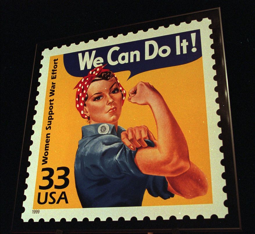 FILE - A June 25, 1999, file photo shows an enlargement of the U.S. Postal Service's stamp depicting Rosie the Riveter, in South Portland, Maine. A group wants to preserve a portion of the old Willow Run bomber plant and house a museum there dedicated to aviation and the countless Rosies across the country. Save the Bomber Plant officials have until Thursday, May 1, to raise the remainder of the $8 million needed to save the plant from demolition. (AP Photo/Joan Seidel, File)